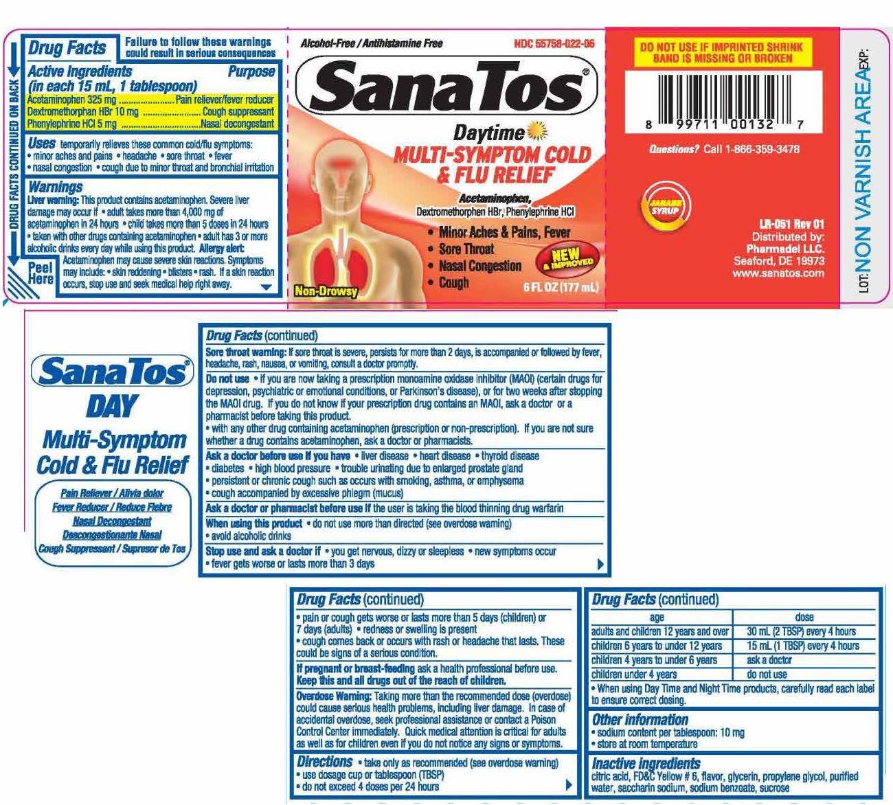 Acetaminophen, Dextromethorphan HBr, Phenylephrine HCI (Sanatos Multi Symptom Daytime)