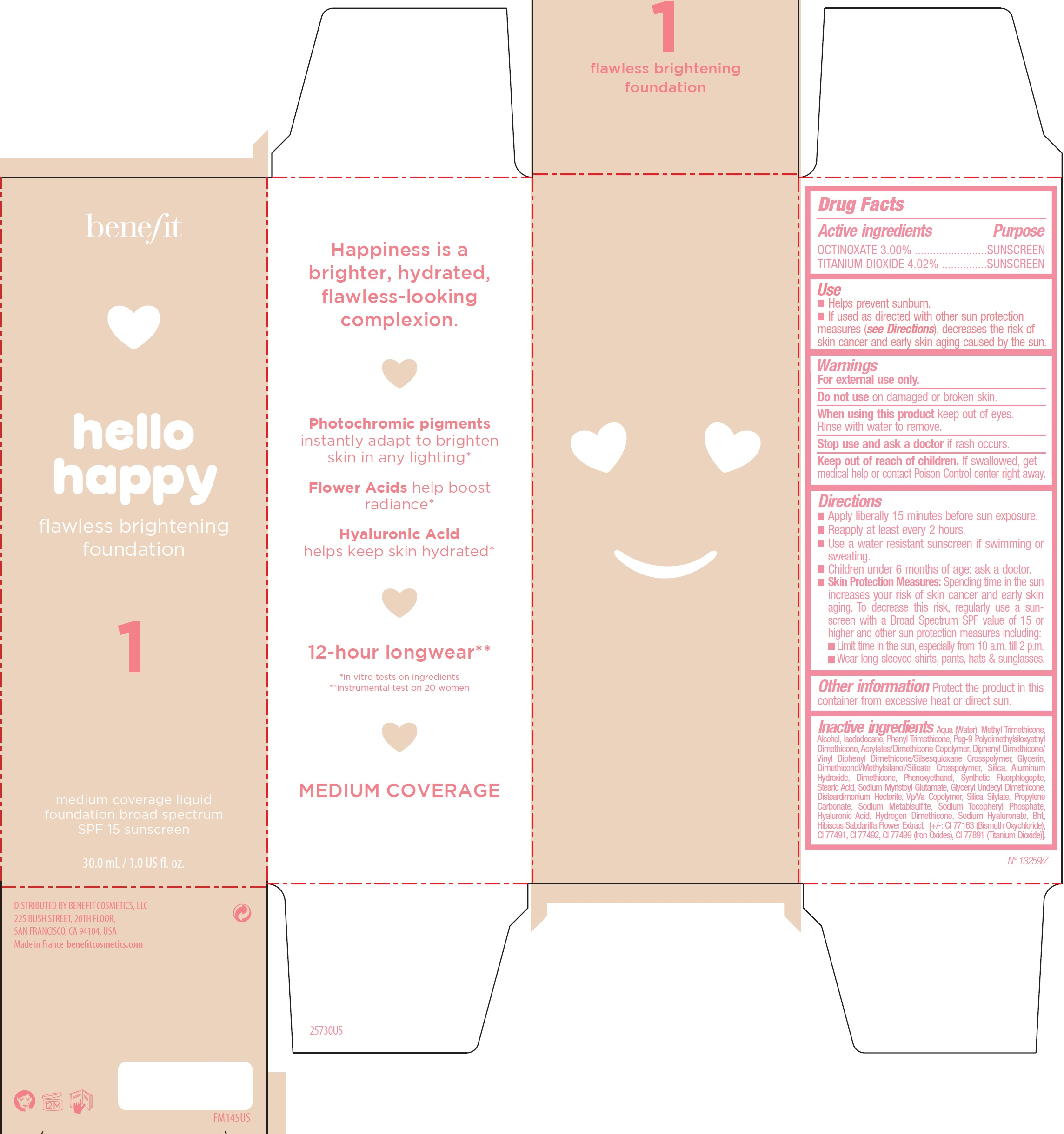 OCTINOXATE, TITANIUM DIOXIDE - Shade 1 (Benefit Hello Happy Flawless Brightening Foundation SPF15)