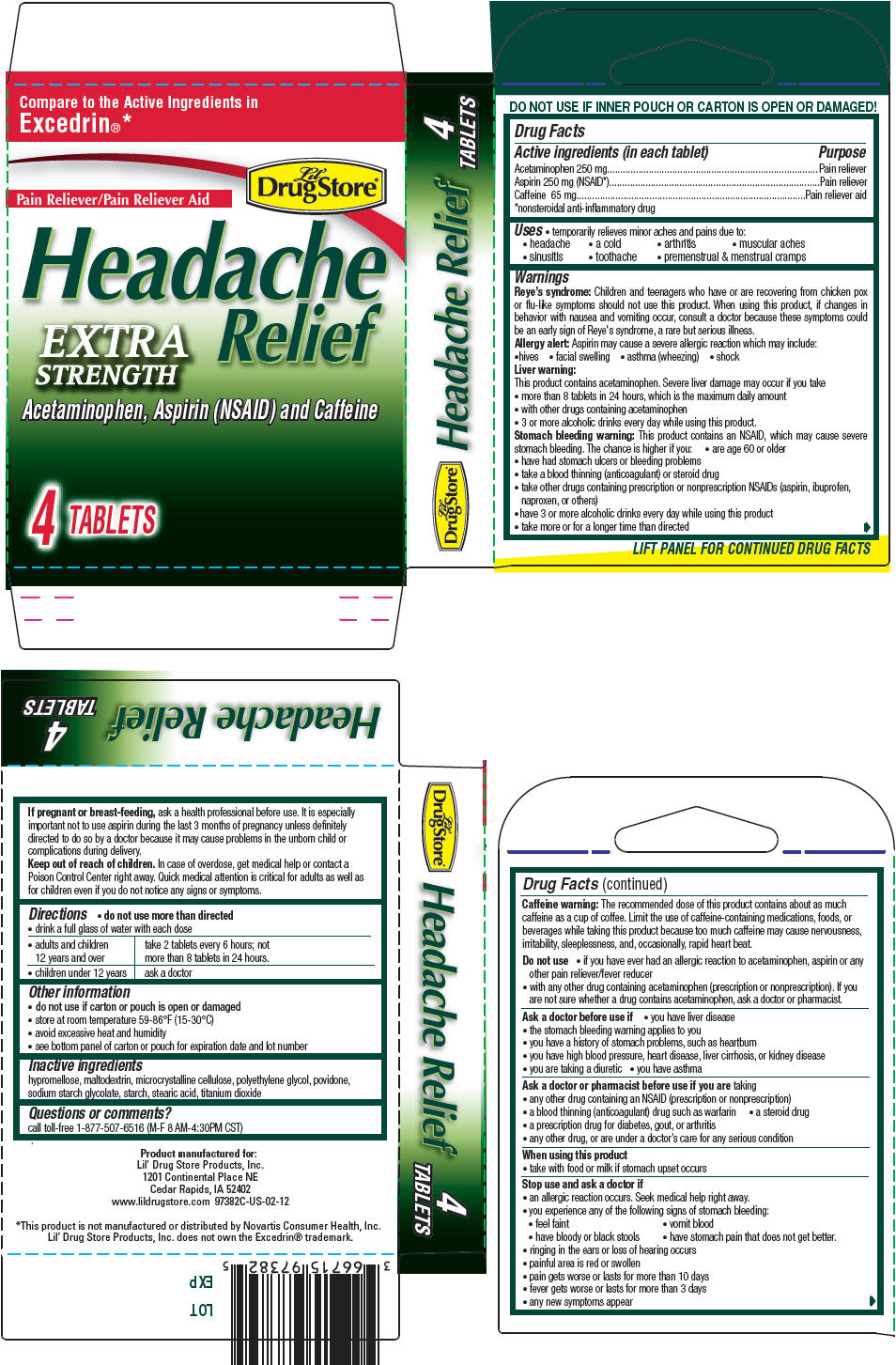 Acetaminophen, Aspirin, and Caffeine - Extra Strength (Lil Drug Store Headache Relief)
