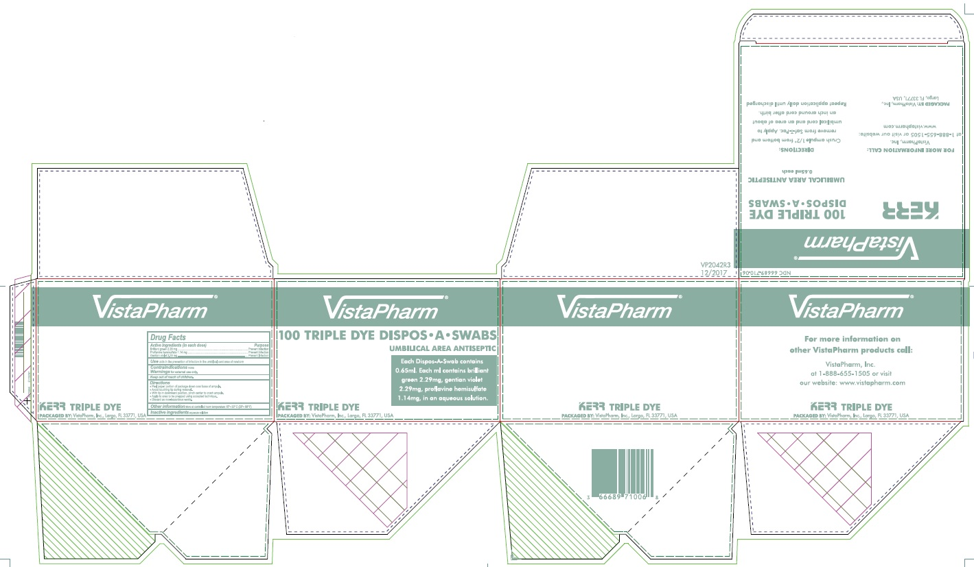 proflavine hemisulfate, Brilliant Green, and Gentian Violet (Kerr 100 Triple Dye Dispos-A)