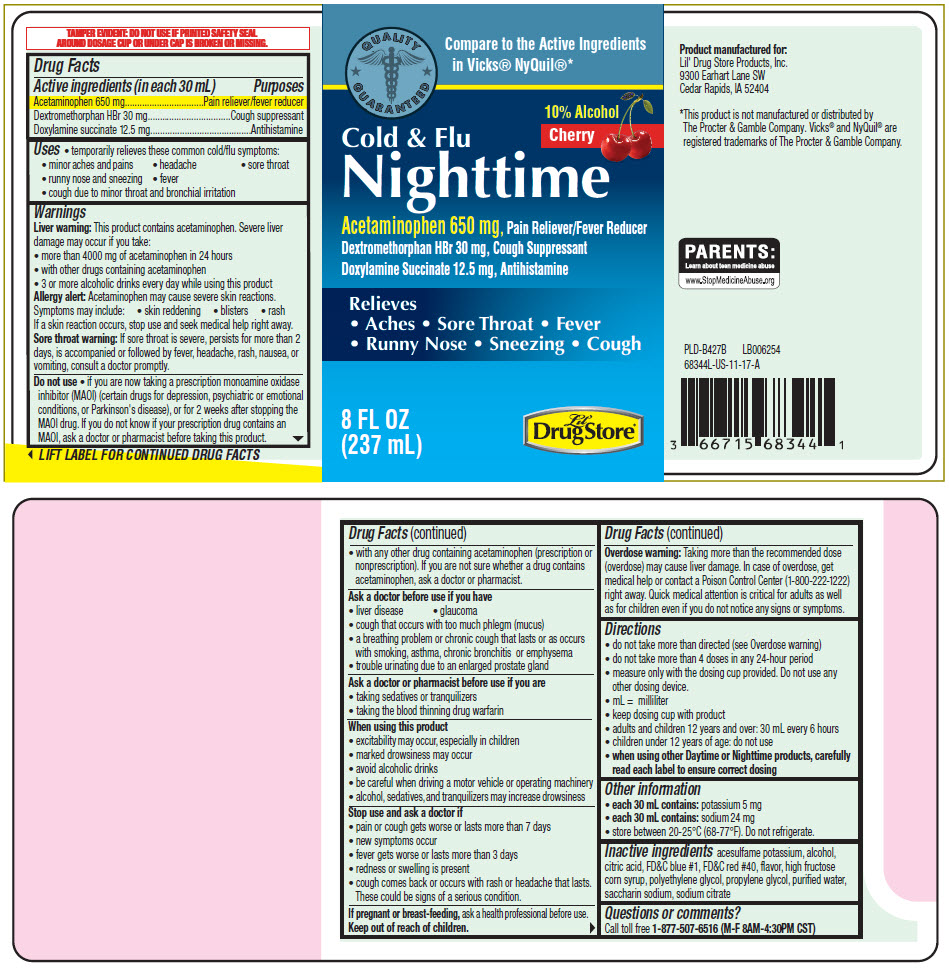 Acetaminophen, Dextromethorphan Hydrobromide, and Doxylamine Succinate - Lil Drug Store Products (Nighttime Cold and Flu)