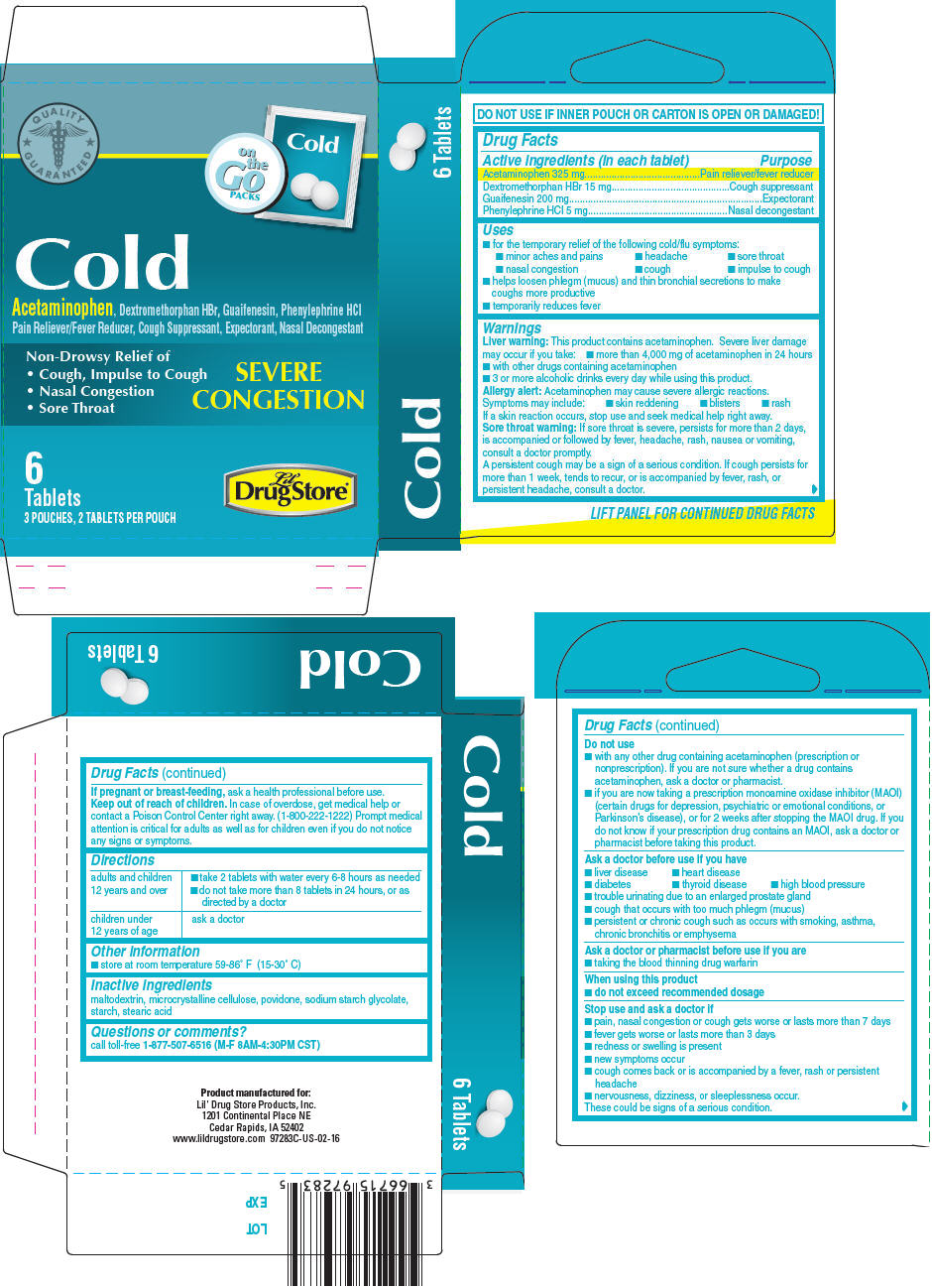 Acetaminophen, Dextromethorphan Hydrobromide, Guaifenesin, and Phenylephrine Hydrochloride (Lil Drug Store Cold Relief)