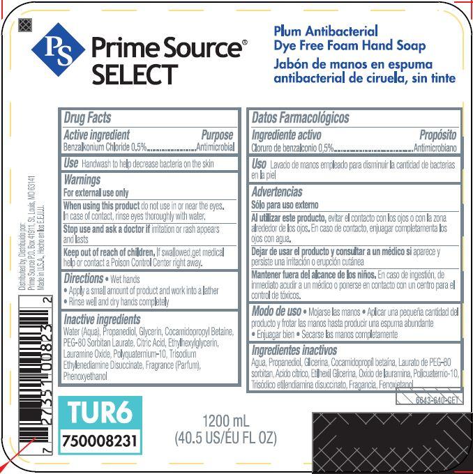 BENZALKONIUM CHLORIDE (Prime Source SELECT Plum Antibacterial Dye Free Foam Hand So ap)