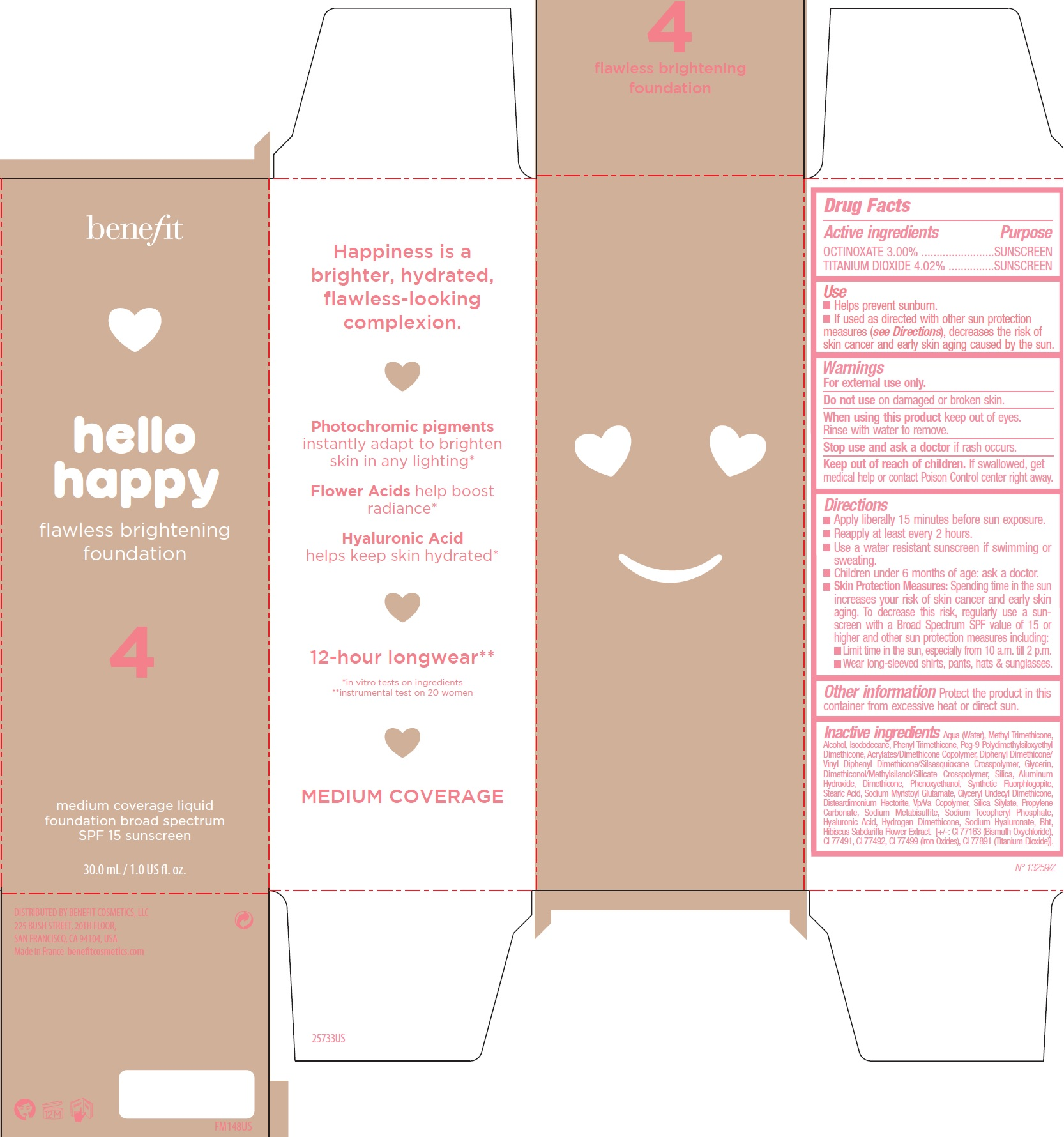 OCTINOXATE, TITANIUM DIOXIDE - Shade 4 (Benefit Hello Happy Flawless Brightening Foundation SPF15)