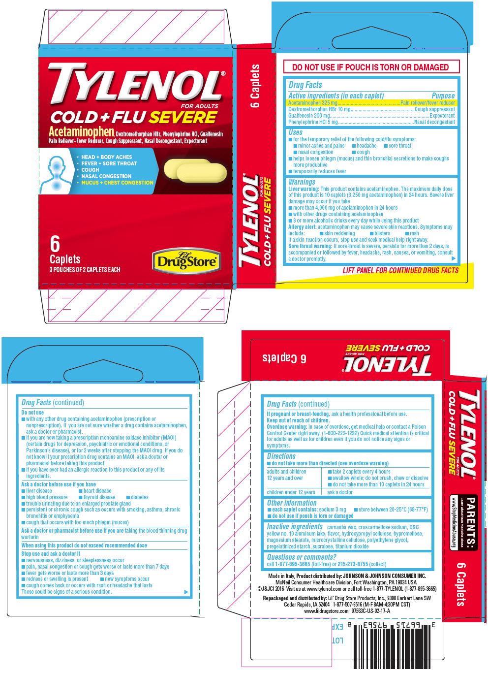 Acetaminophen, Dextromethorphan Hydrobromide, Guaifenesin, and Phenylephrine Hydrochloride (Lil Drug Store Tylenol Cold plus Flu Severe)
