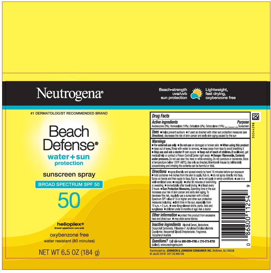 Avobenzone, Homosalate, Octisalate, and Octocrylene (Neutrogena Beach Defense Water Plus Sun Protection Sunscreen Broad Spectrum SPF 50)