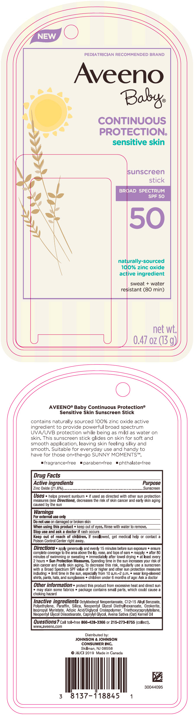 Zinc Oxide (Aveeno Baby Continuous Protection Sensitive Skin Sunscreen Broad Spectrum SPF 50)