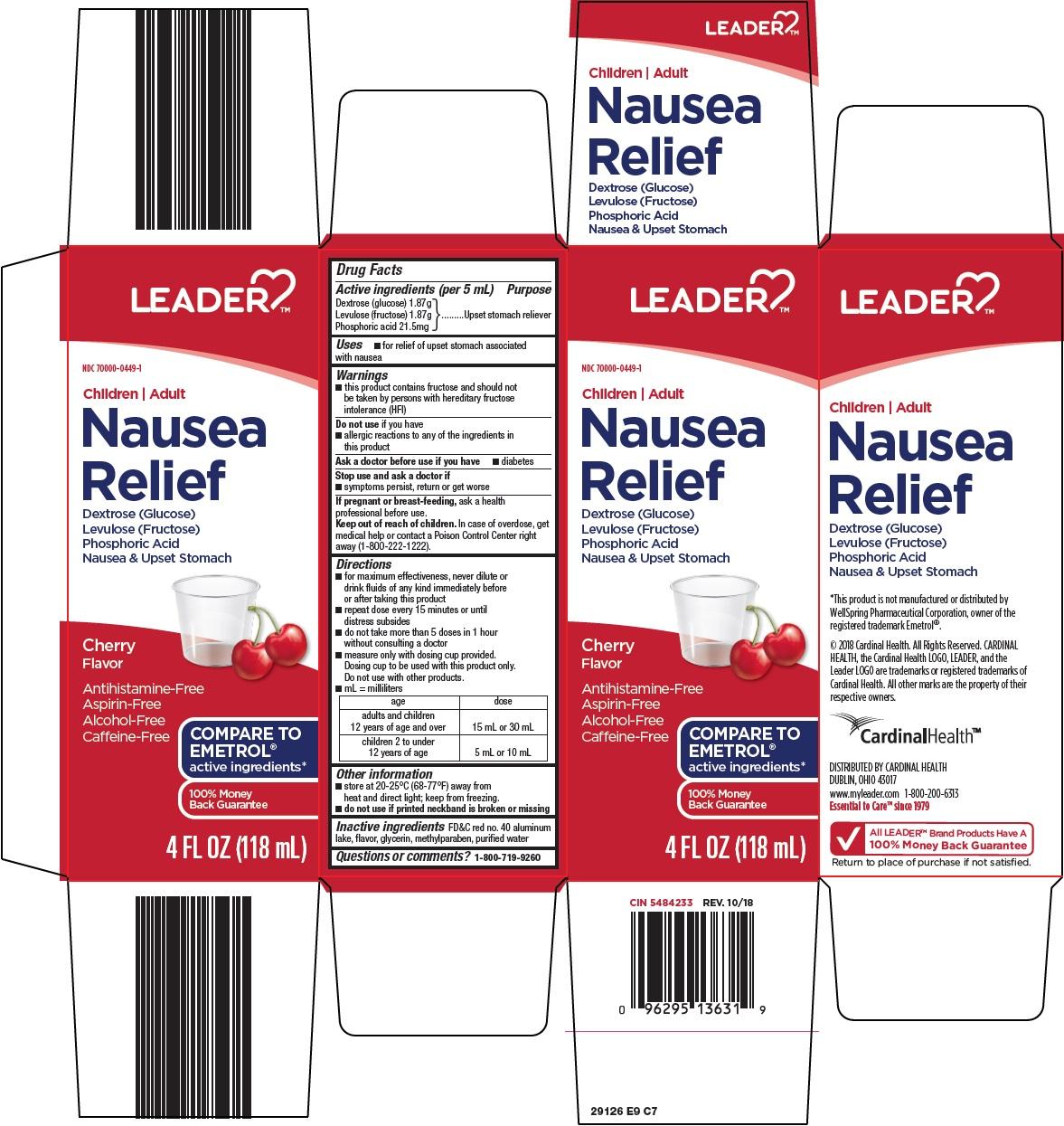 Dextrose (glucose), Levulose (fructose), Phosphoric Acid (leader nausea relief)