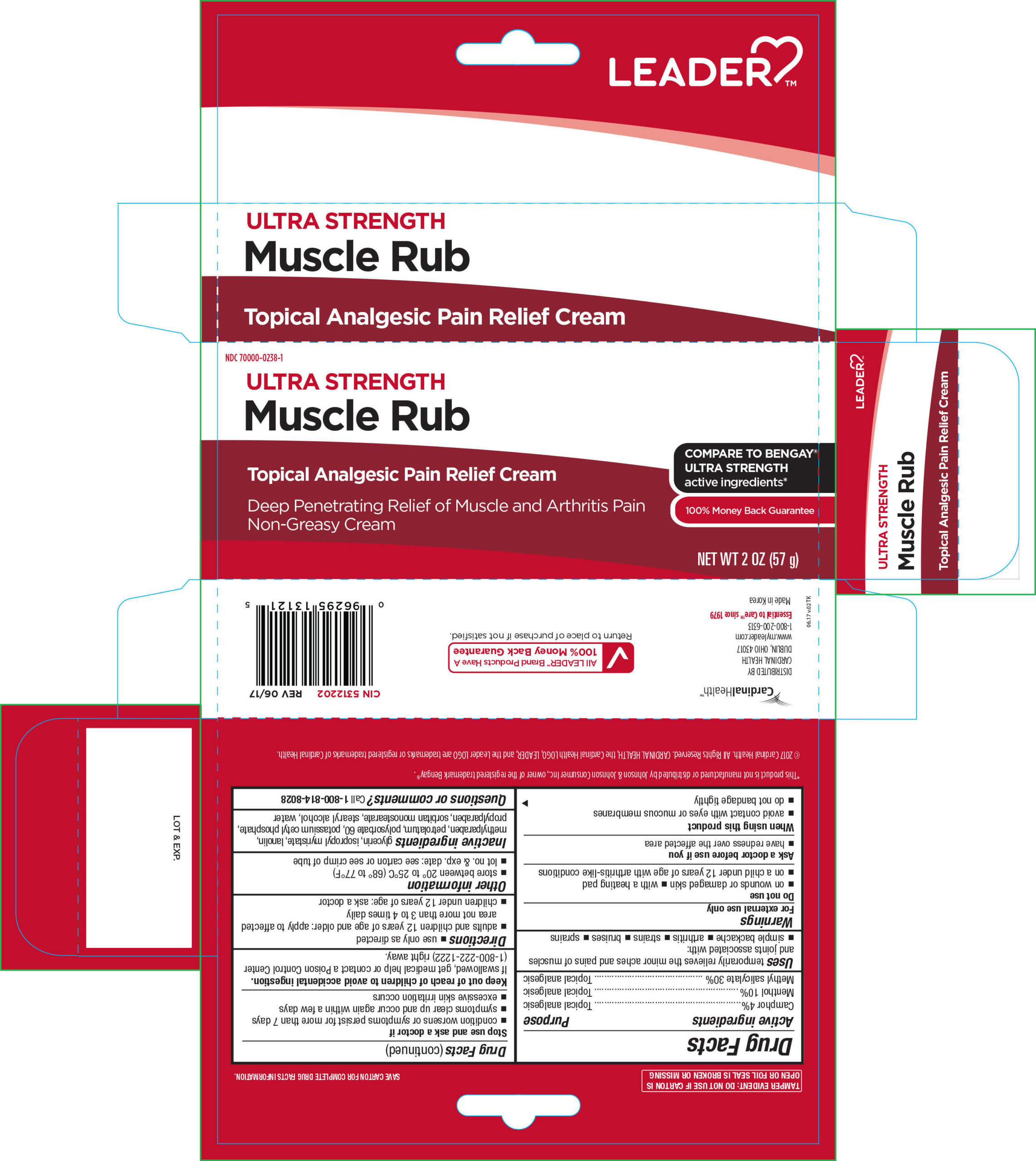 Camphor, Menthol, and Methyl Salicylate (Leader Ultra Strength Muscle Rub)