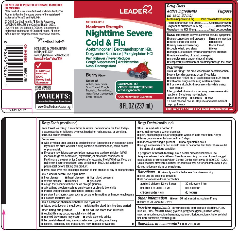 Acetaminophen, Dextromethorphan HBr, Doxylamine Succinate, Phenylephrine HCl (leader nighttime sever cold and flu)