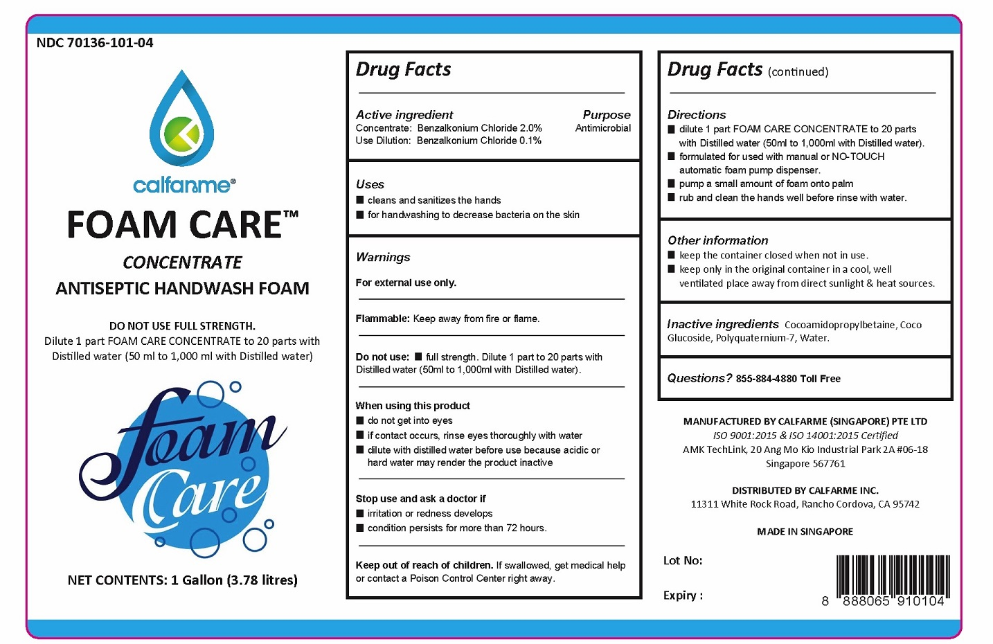 BENZALKONIUM CHLORIDE - FOAM CARE (Calfarme)
