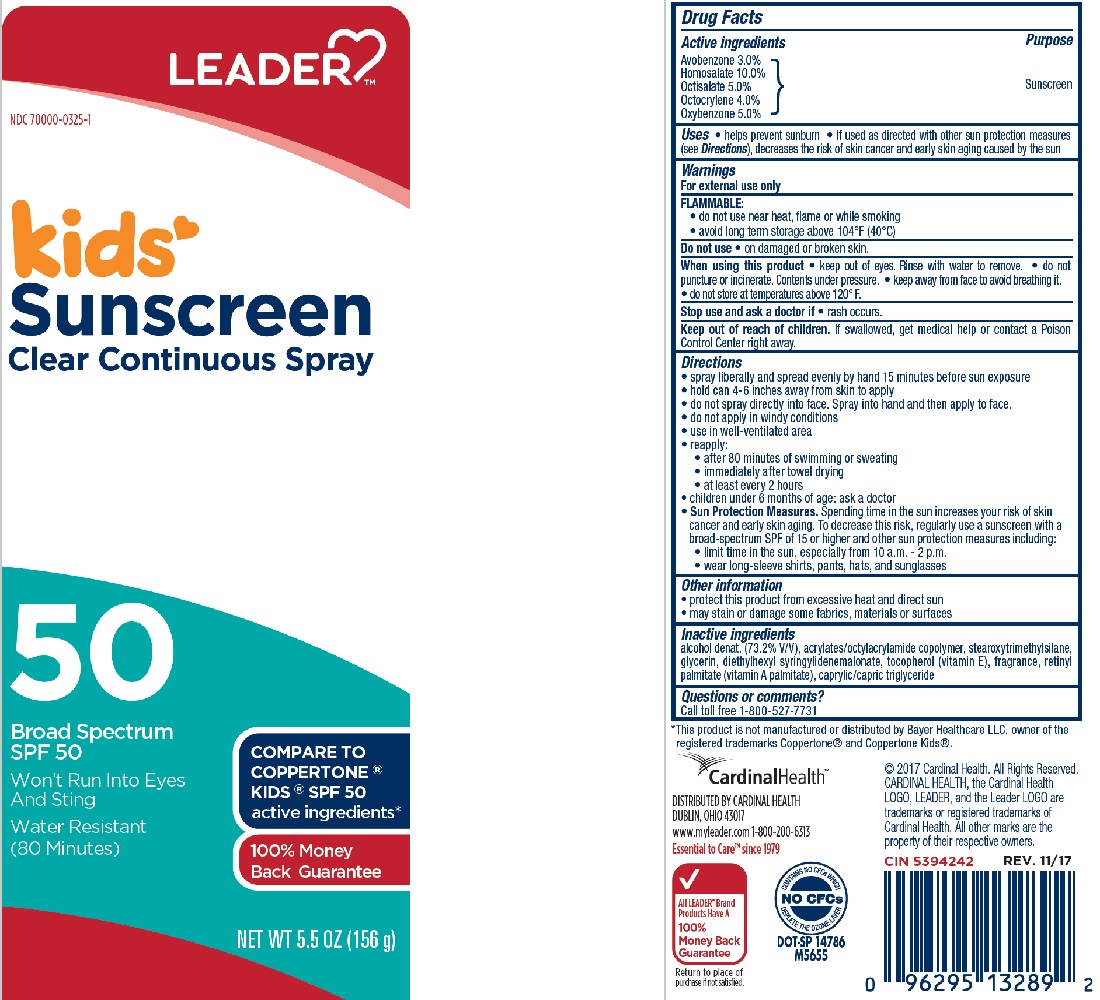 Avobenzone, Homosalate, Octisalate, Octocrylene, Oxybenzone - SPF 50 Kids Sunscreen Clear Continuous (Cardinal Health Leader)