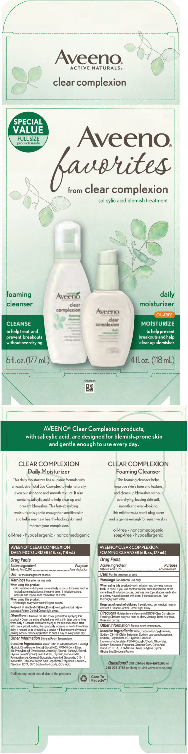 Salicylic acid (Aveeno favorites from clear complexion)