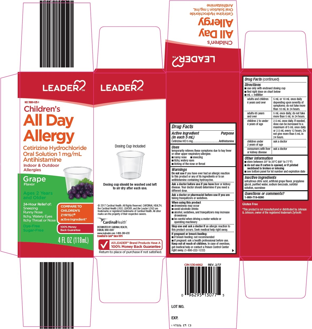 Cetirizine HCl (Leader Childrens all day allergy)
