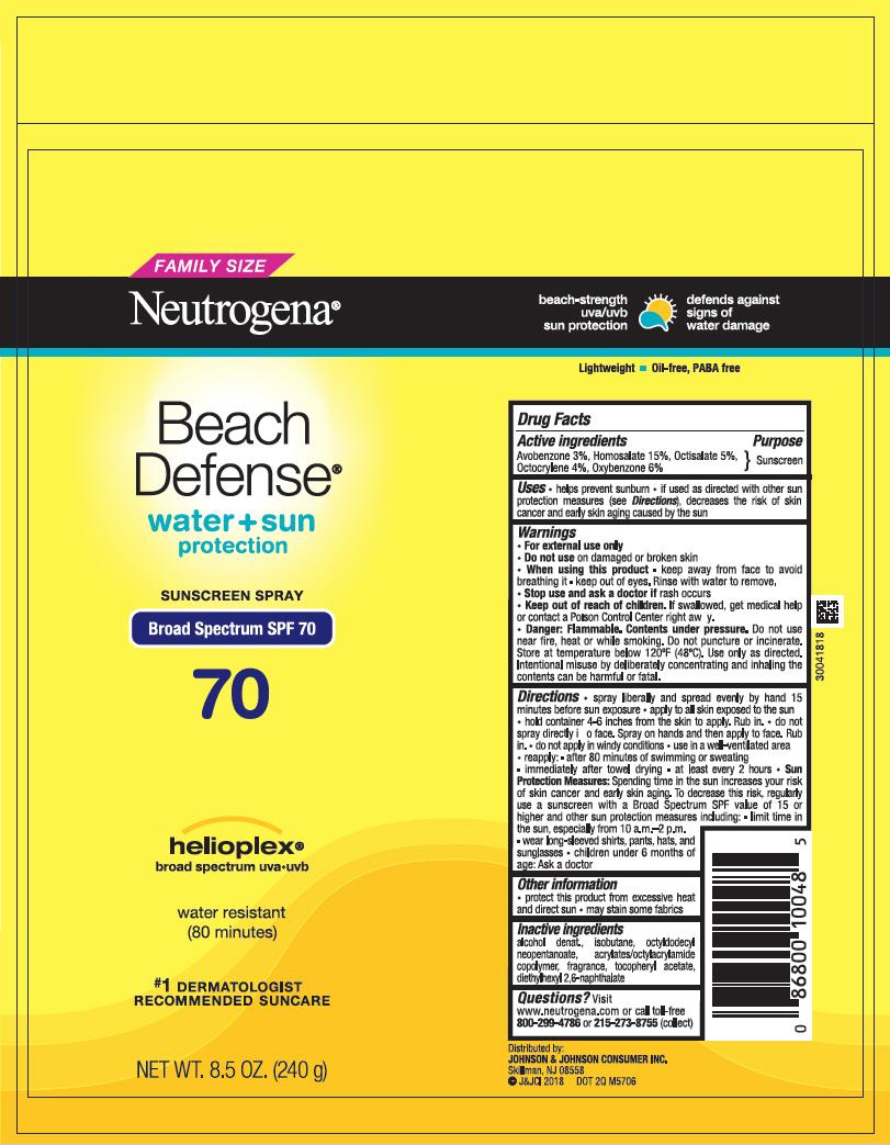 Avobenzone, Homosalate, Octisalate, Octocrylene, and Oxybenzone - Sunscreen Broad Spectrum SPF70 (Neutrogena Beach Defense Water Plus Sun Protection)