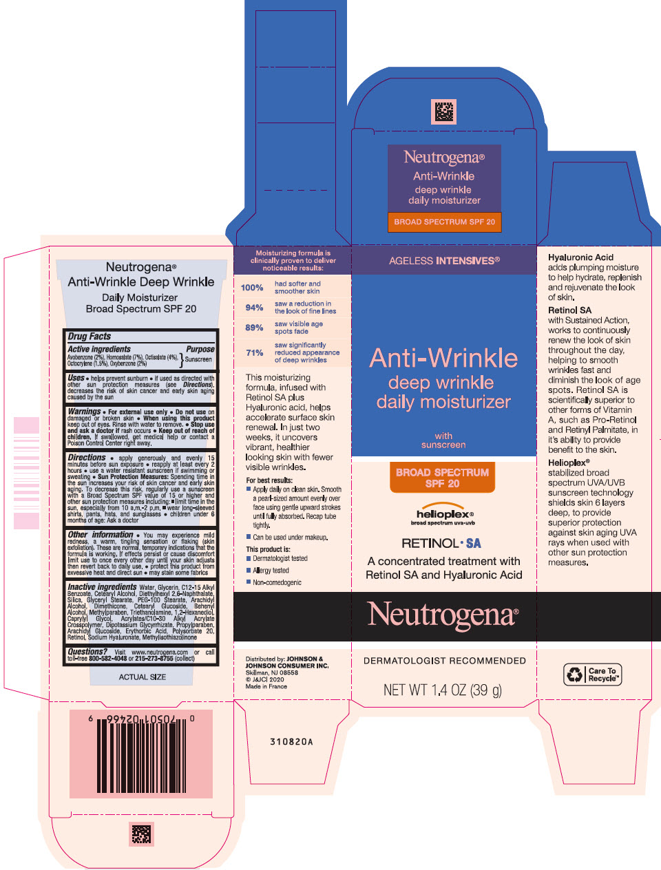 Avobenzone, Homosalate, Octisalate, Octocrylene, and Oxybenzone - Sunscreen Broad Spectrum SPF20 (Neutrogena Ageless Intensives Anti Wrinkle Deep Wrinkle Daily Moisturizer)