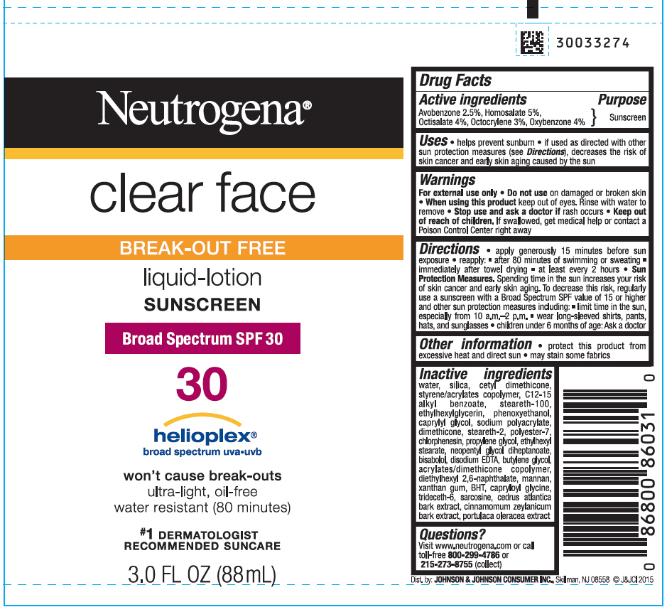 Avobenzone, Homosalate, Octisalate, Octocrylene, and Oxybenzone - Sunscreen Broad Spectrum SPF30 (Neutrogena Clear Face Break Out Free)
