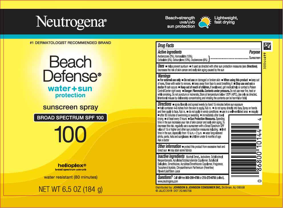 Avobenzone, Homosalate, Octisalate, Octocrylene, and Oxybenzone - Sunscreen Broad Spectrum SPF100 (Neutrogena Beach Defense Water Plus Sun Protection)