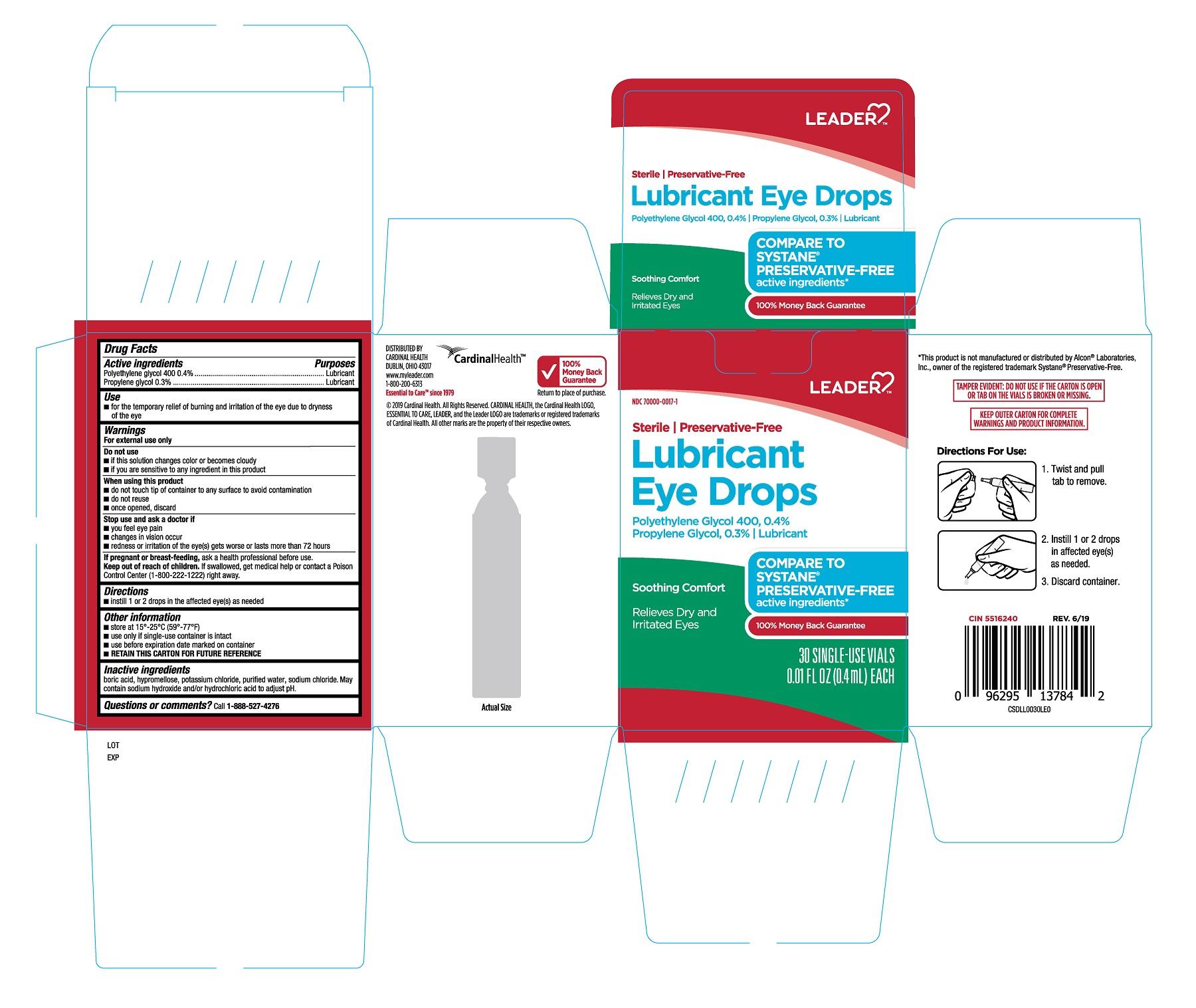 Polyethylene Glycol 400, Propylene Glycol (Leader Lubricant Eye Drops 30ct)