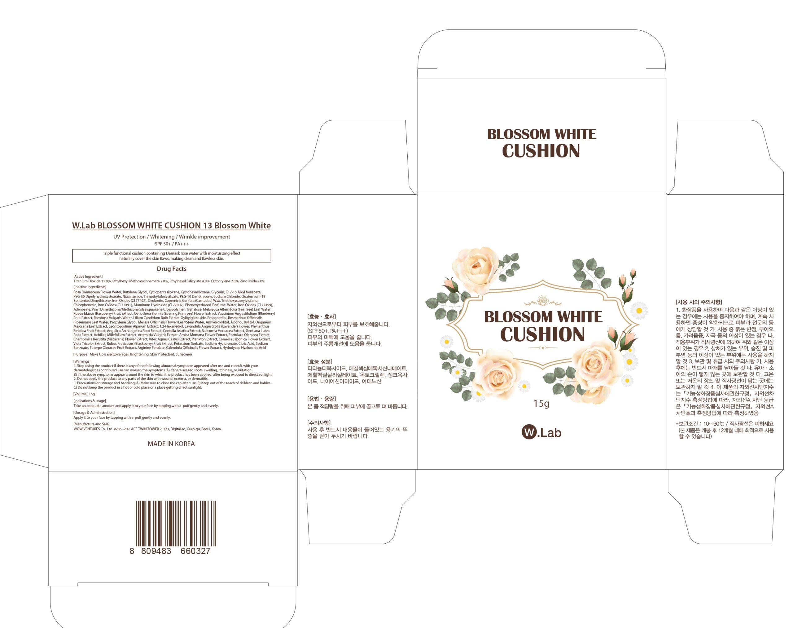 Titanium Dioxide, Octinoxate, Octisalate, Octocrylene, Zinc Oxide (W Lab BLOSSOM WHITE CUSHION 13 Blossom White)