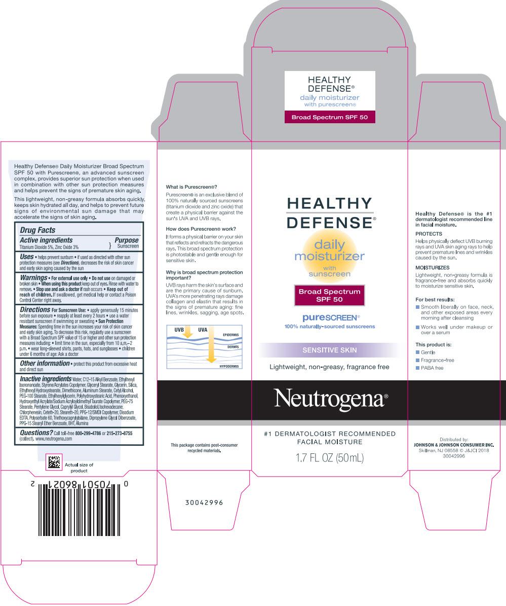 titanium dioxide and zinc oxide (Neutrogena HEALTHY DEFENSE daily moisturizer with sunscreen Broad Spectrum SPF 50)