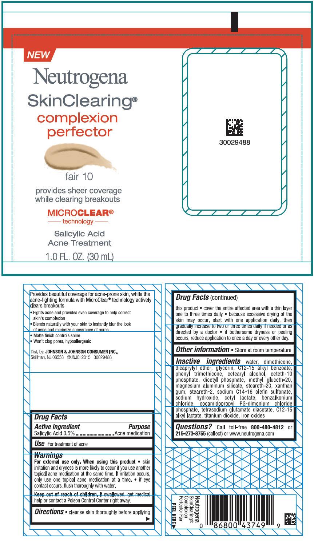 Salicylic acid (Neutrogena SkinClearing complexion perfector Fair 10)