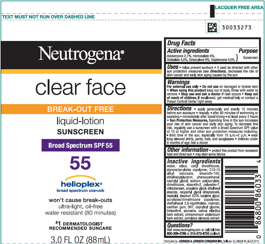 Avobenzone, Homosalate, Octisalate, Octocrylene, and Oxybenzone - Sunscreen Broad Spectrum SPF55 (Neutrogena Clear Face Break Out Free)
