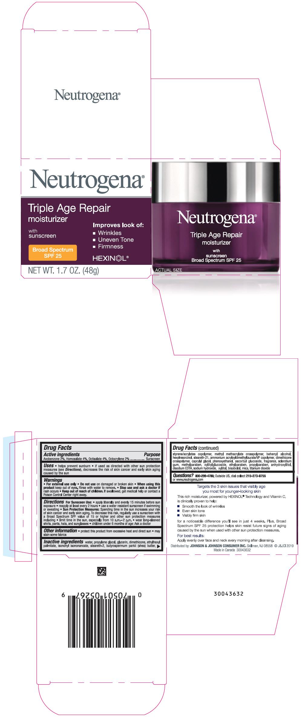 Avobenzone, Homosalate, Octisalate, and Octocrylene (Neutrogena Triple Age Repair Moisturizer with Sunscreen Broad Spectrum SPF 25)
