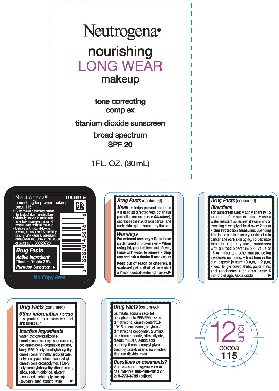 Titanium Dioxide (Neutrogena nourishing LONG WEAR makeup sunscreen broad spectrum SPF 20 cocoa 115)