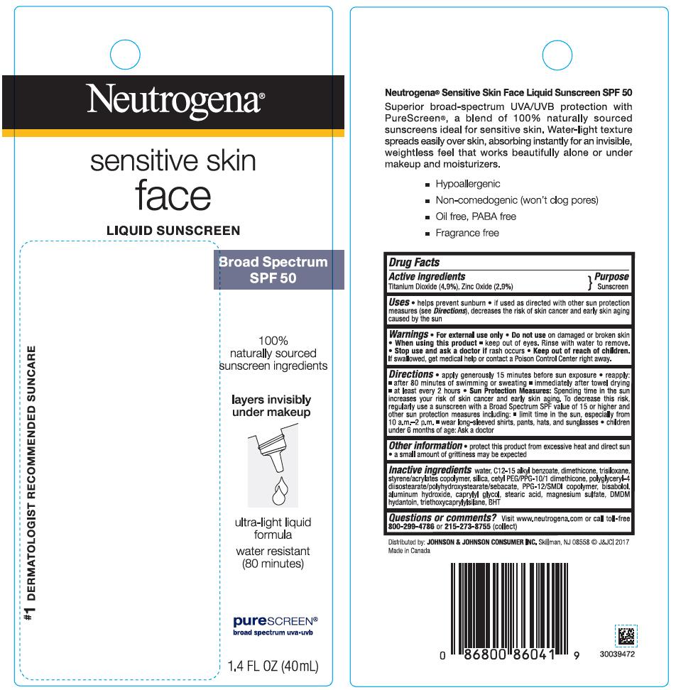 Titanium Dioxide and Zinc Oxide - Sunscreen Broad Spectrum SPF50 (Neutrogena sensitive skin face Liquid)