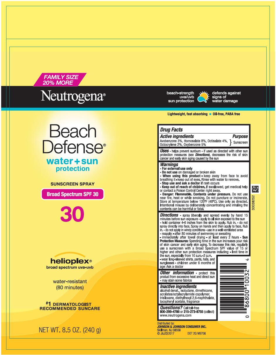 Avobenzone, Homosalate, Octisalate, Octocrylene, and Oxybenzone - Sunscreen Broad Spectrum SPF30 (Neutrogena Beach Defense Water Plus Sun Protection)