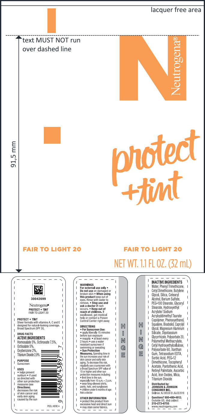 Homosalate, Octinoxate, Octisalate, Oxybenzone, and Titanium Dioxide (Neutrogena PROTECT Plus TINT FAIR TO LIGHT 20)