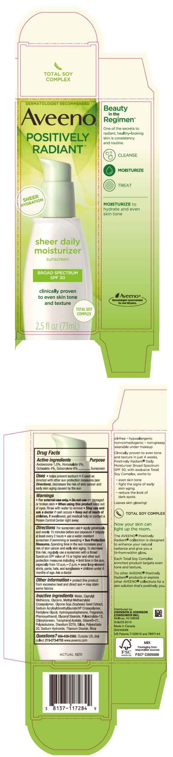 Avobenzone, Homosalate, Octisalate, and Octocrylene (Aveeno POSITIVELY RADIANT sheer daily moisturizer sunscreen BROAD SPECTRUM SPF 30)