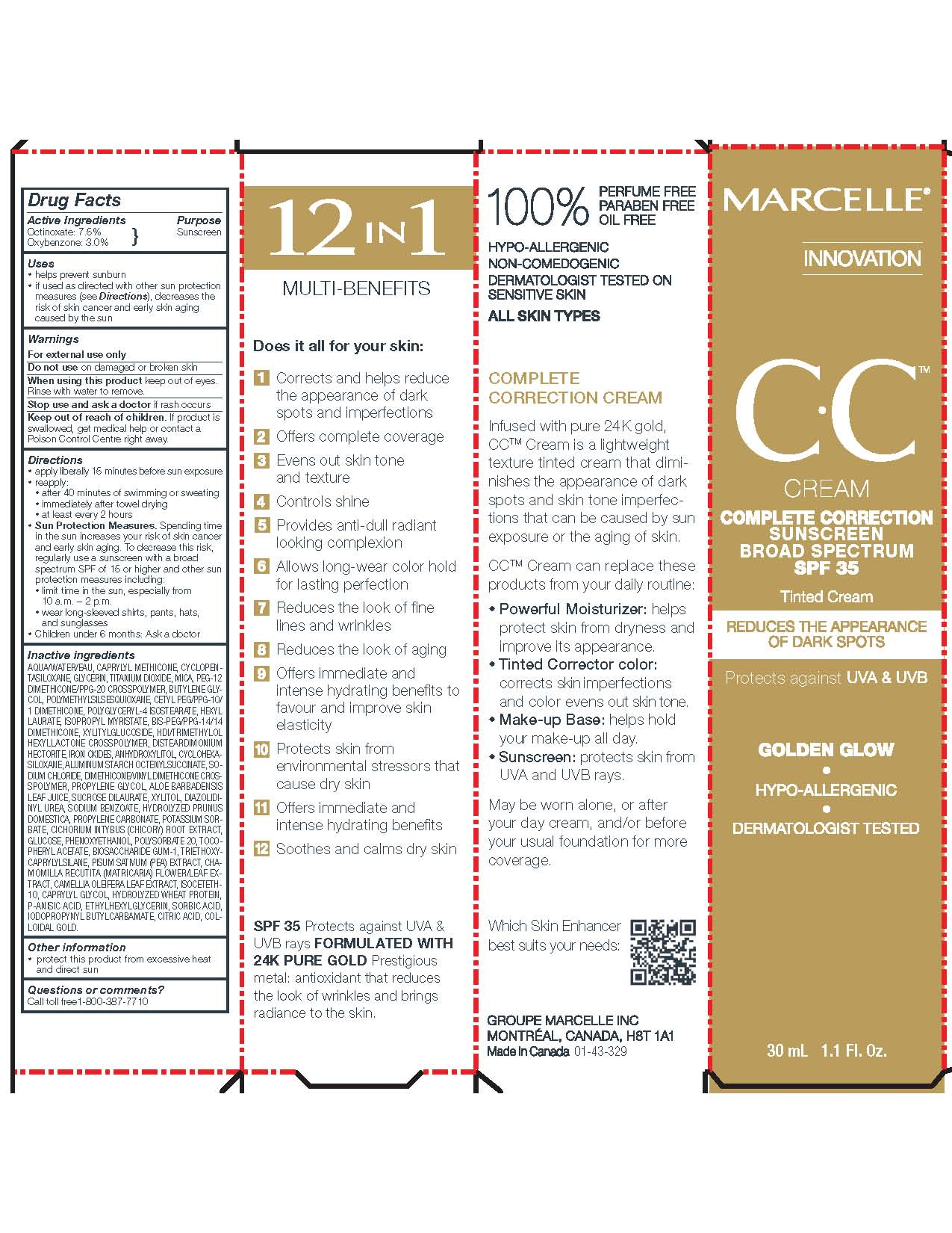 Octinoxate and Oxybenzone (Marcelle CC Cream Complete Correction Sunscreen Broad Spectrum SPF 35)
