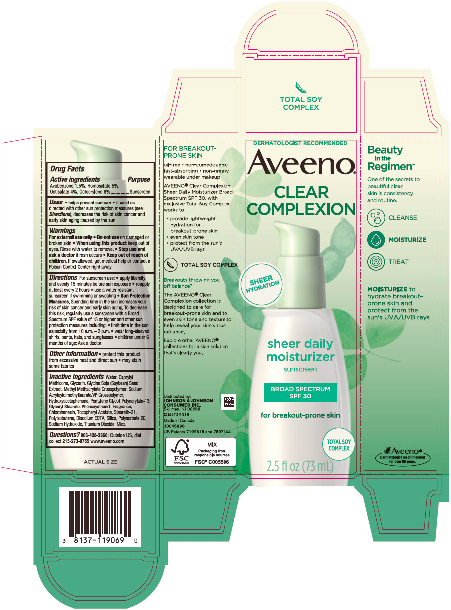 Avobenzone, Homosalate, Octisalate, and Octocrylene (Aveeno Clear Complexion Sheer Daily Moisturizer Sunscreen Broad Spectrum SPF 30)