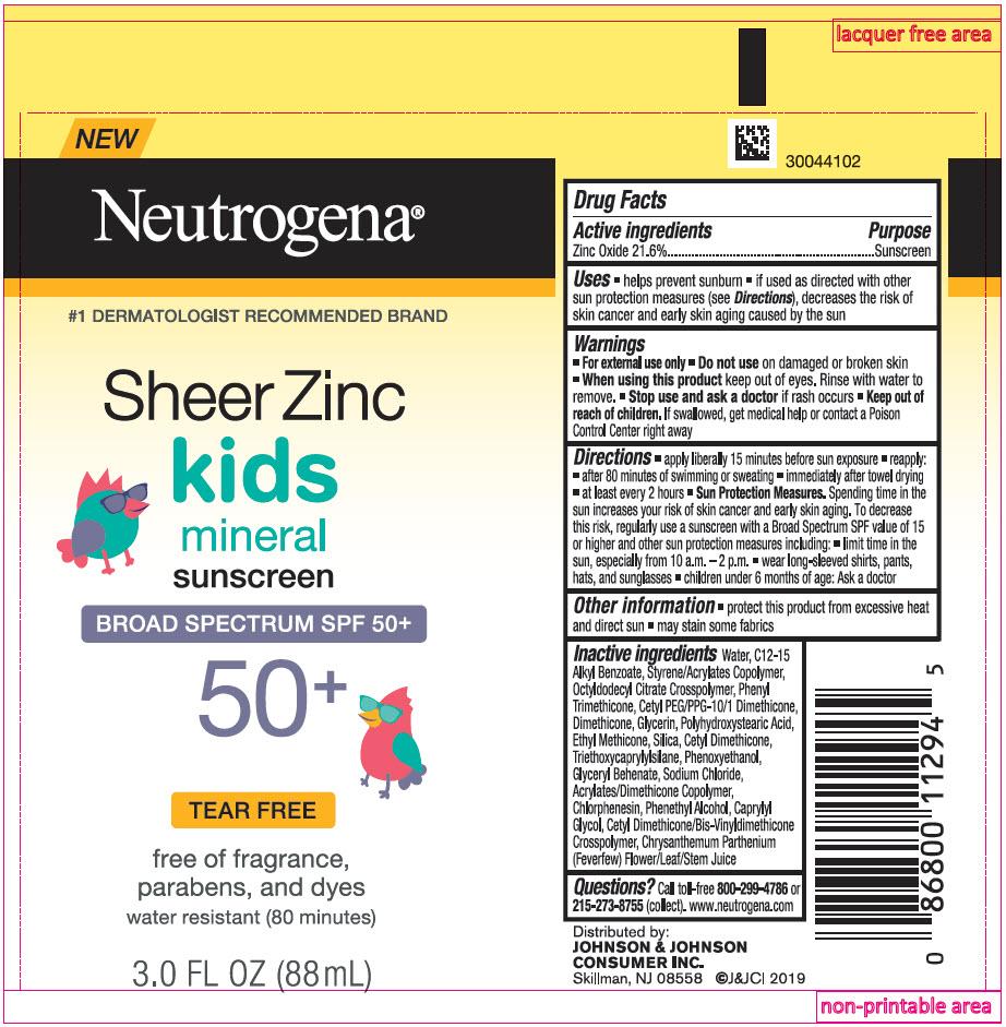Zinc Oxide (Neutrogena Sheer Zinc Kids Mineral Sunscreen Broad Spectrum SPF 50 Plus)