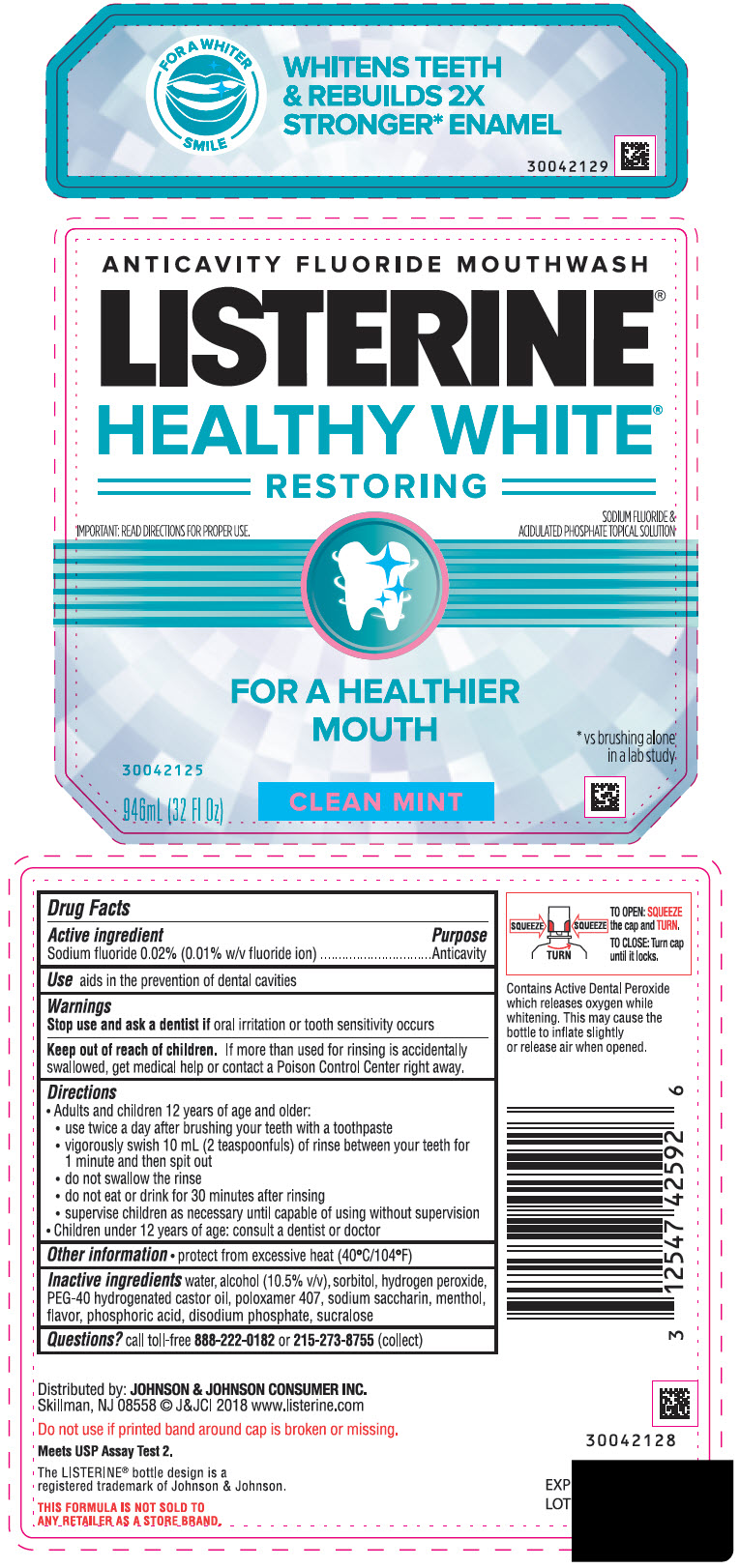 Sodium Fluoride (Listerine Healthy White Restoring Anticavity Fluoride Clean Mint)