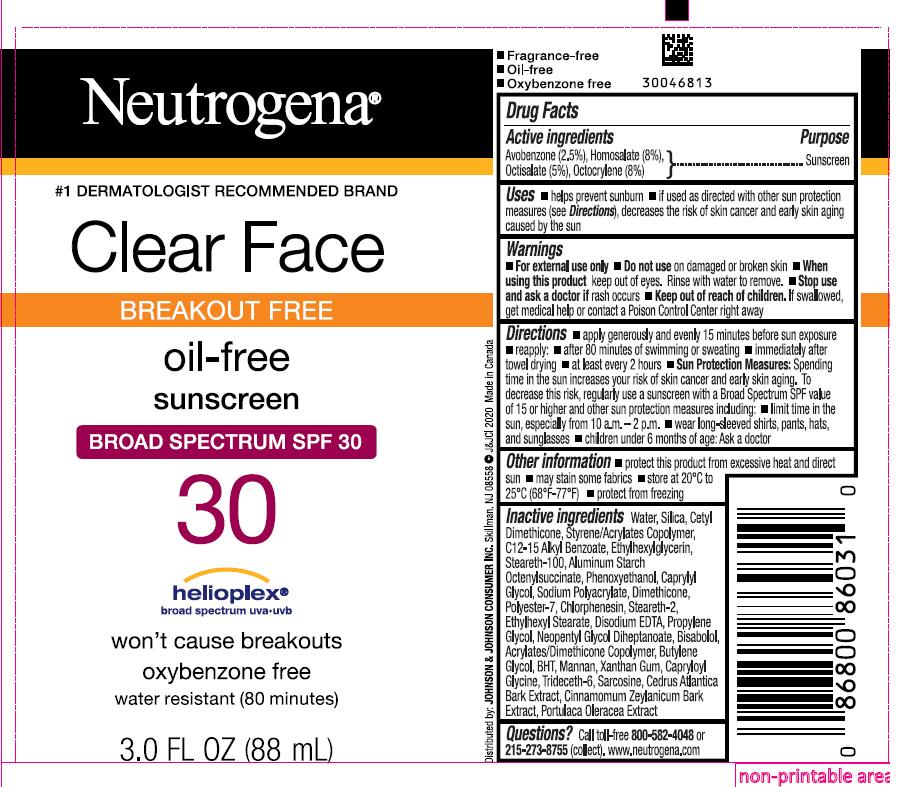 Avobenzone, Homosalate, Octisalate, and Octocrylene (Neutrogena Clear Face Breakout Free Oil Free Sunscreen Broad Spectrum SPF 30)