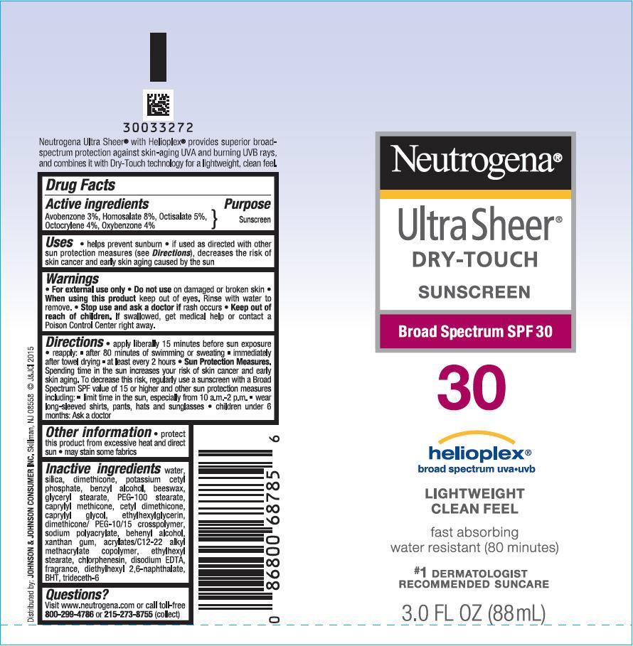 Avobenzone, Homosalate, Octisalate, Octocrylene, and Oxybenzone - Sunscreen Broad Spectrum SPF 30 (Neutrogena Ultra Sheer Dry Touch)
