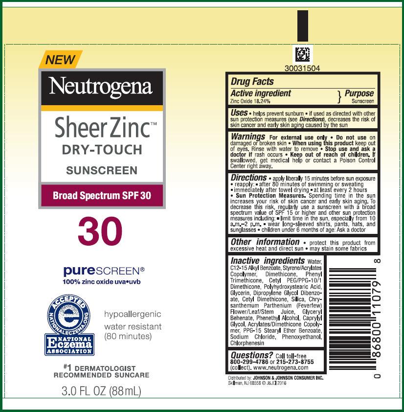 Zinc Oxide - Sunscreen Broad Spectrum SPF30 (Neutrogena Sheer Zinc DRY-TOUCH)