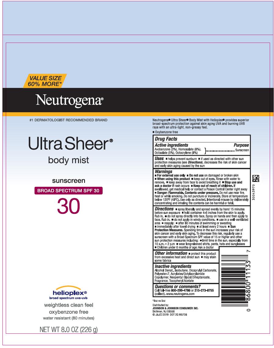 Avobenzone, Homosalate, Octisalate, and Octocrylene (Neutrogena Ultra Sheer Body Mist Sunscreen Broad Spectrum SPF 30)