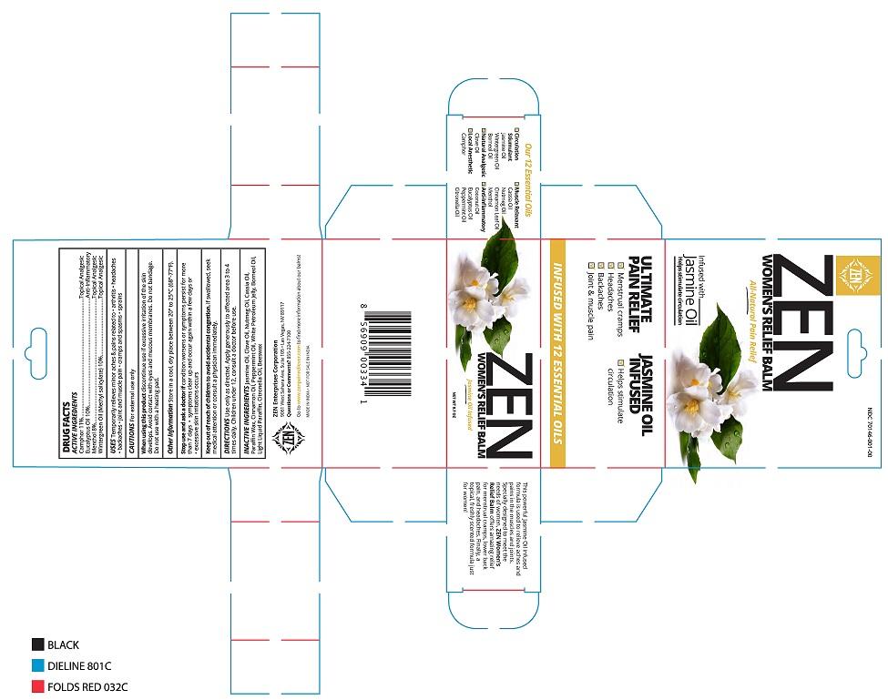 camphor, eucalyptus oil, menthol, methyl salicylate (Womens Relief Balm)