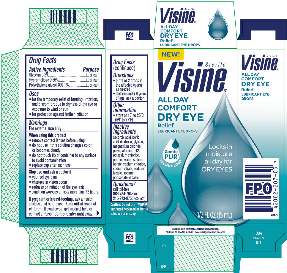 Glycerin, Hypromelloses, and Polyethylene Glycol 400 (Visine ALL DAY COMFORT DRY EYE Relief)