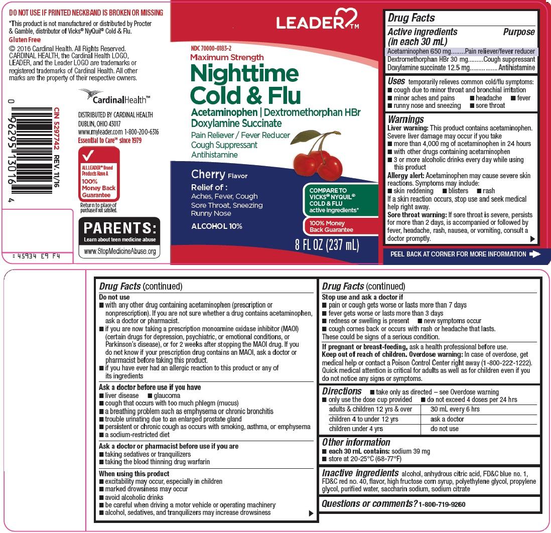 Acetaminophen, Dextromethorphan HBr, Doxylamine succinate (Leader Nighttime Cold and Flu)