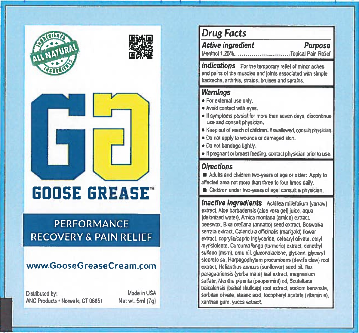 MENTHOL (Goose Grease Recovery and Pain Relief)