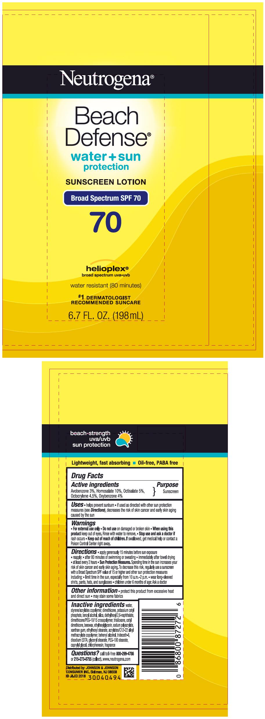Avobenzone, Homosalate, Octisalate, Octocrylene, Oxybenzone - Sunscreen Broad Spectrum SPF70 (Neutrogena Beach Defense Water Plus Sun Protection)